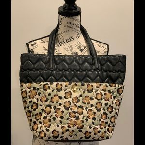 Betsey Johnson large leopard print & heart tote